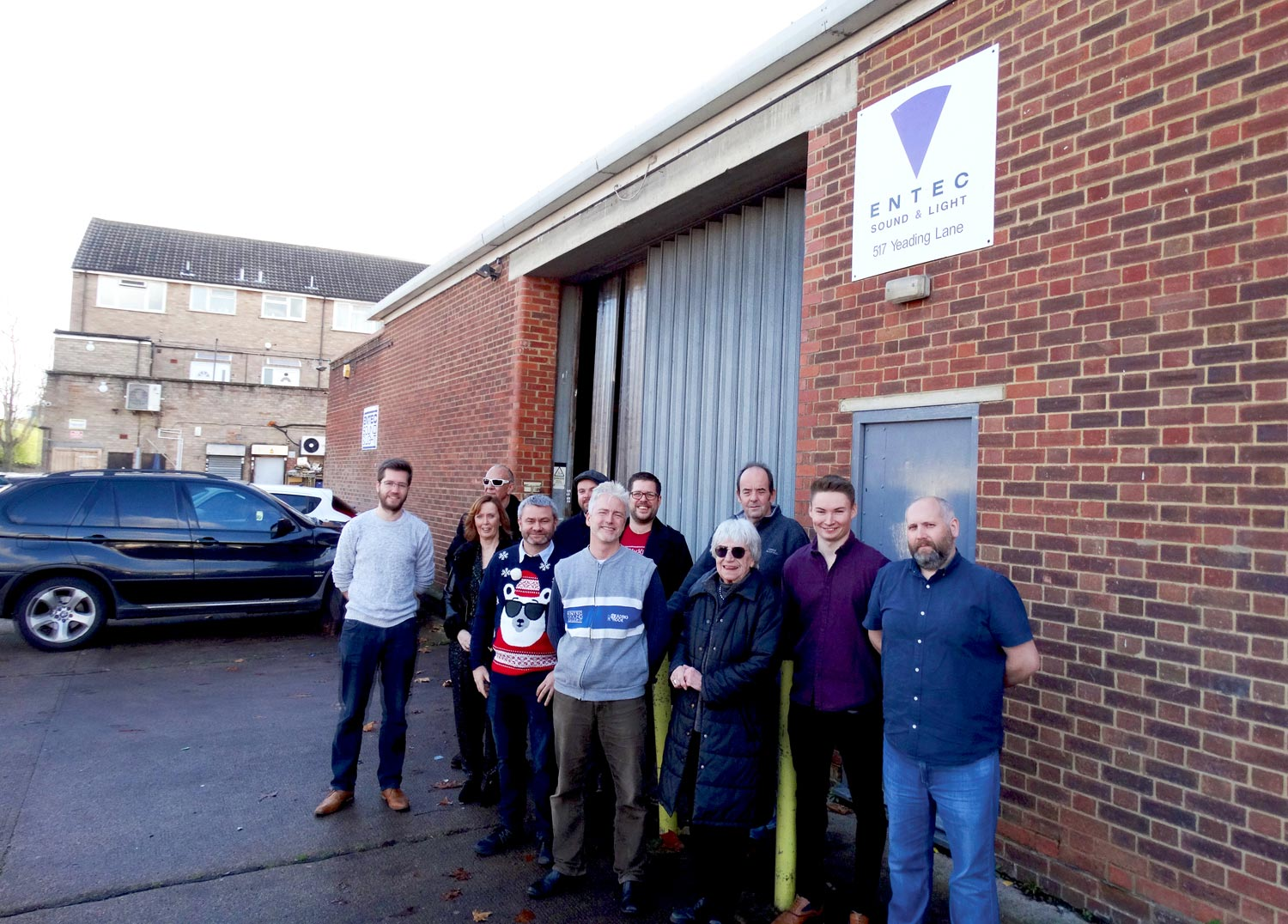 Entec staff and directors gather outside the main Northolt building.