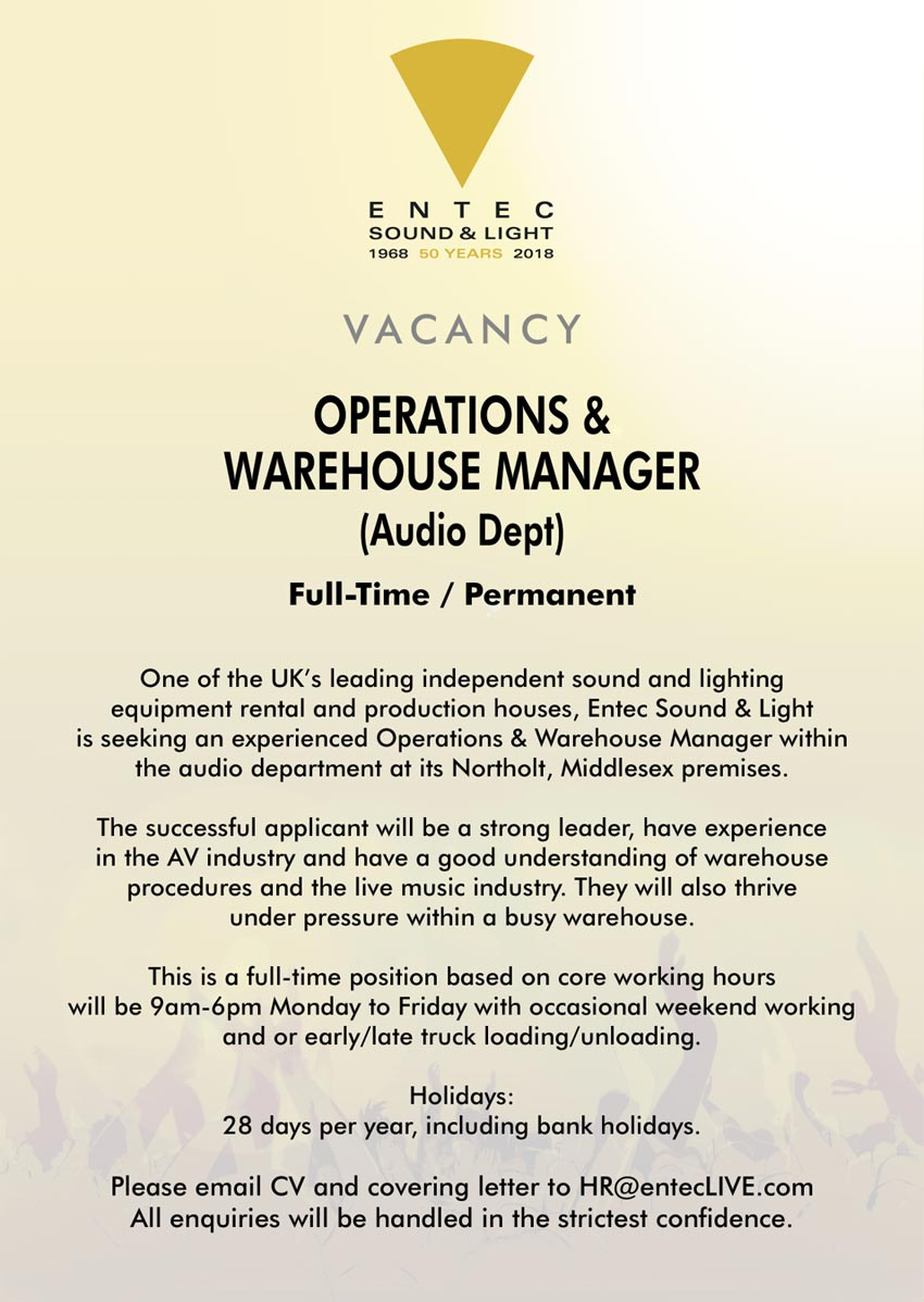 Operations and Warehouse Manager for Audio department
