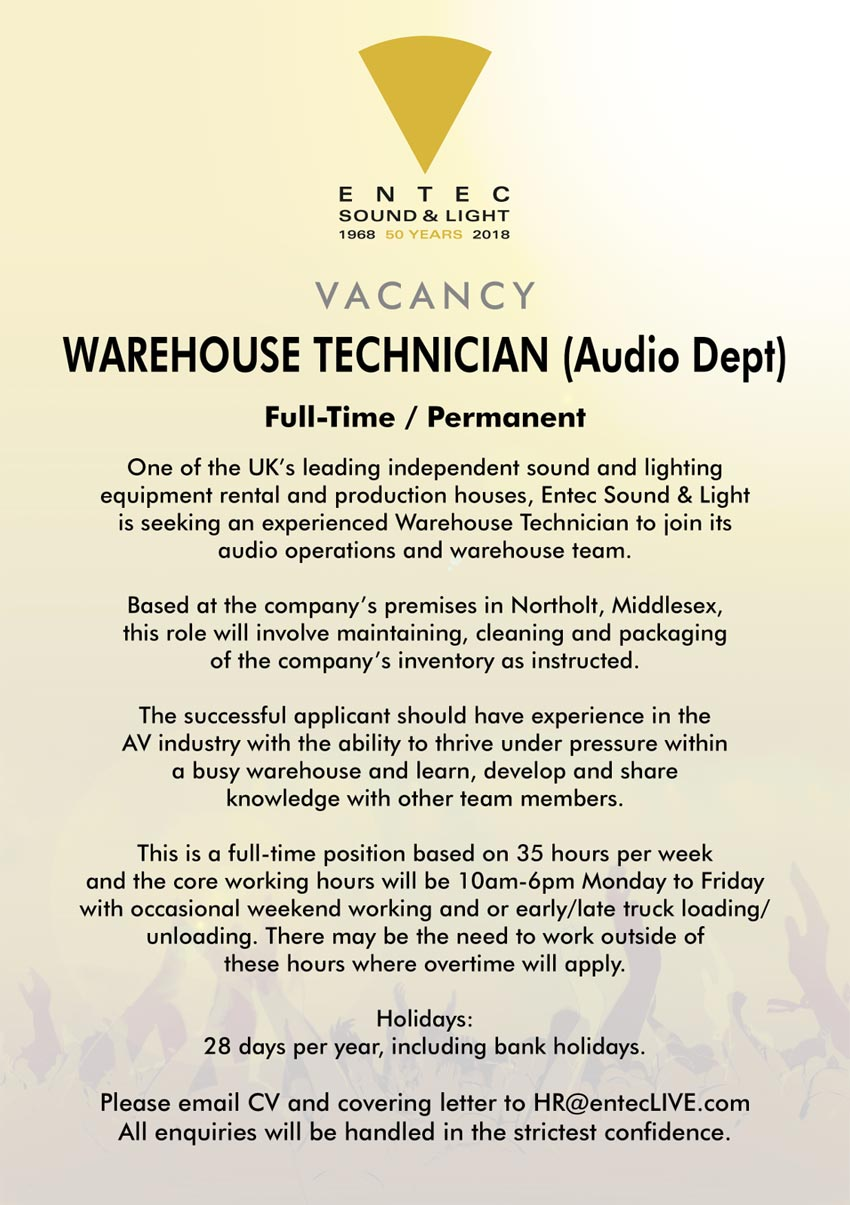 Warehouse Technician for Audio department
