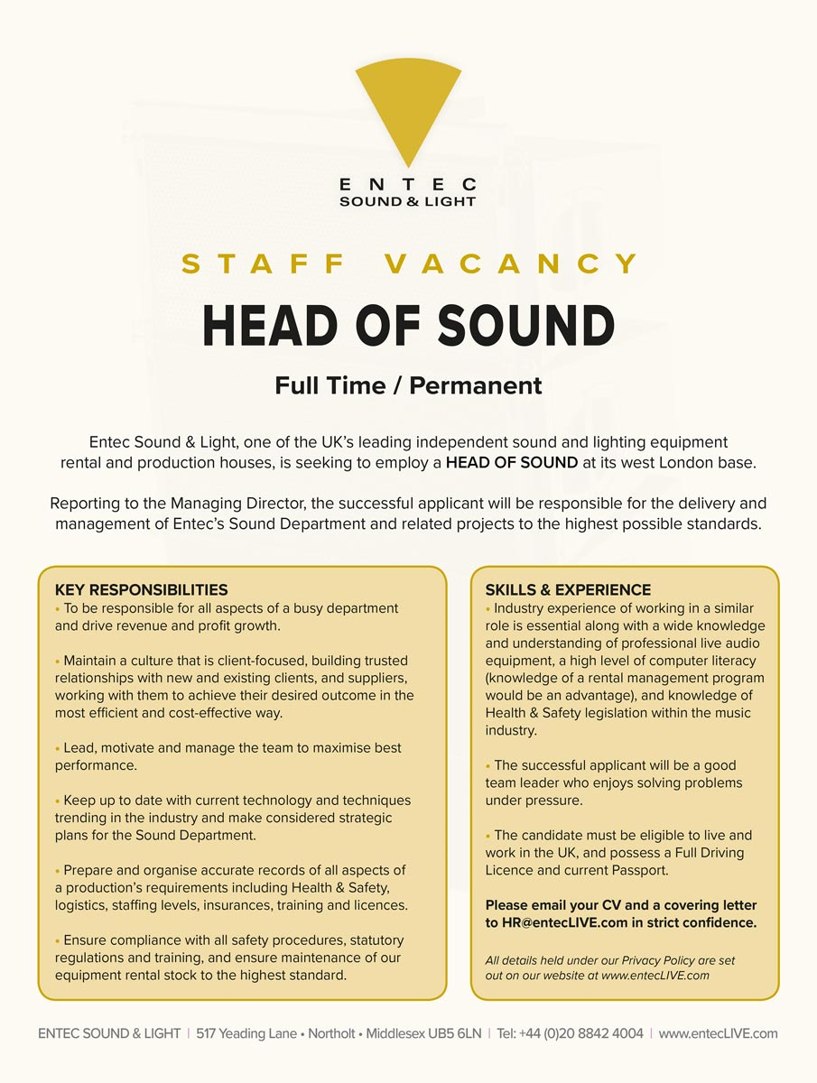 Advert for new head of sound